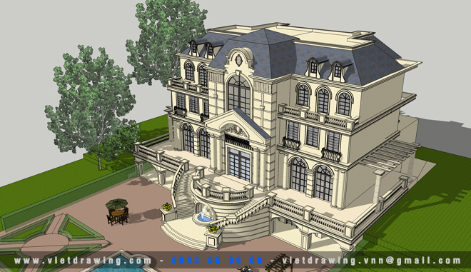 SU-035: Sketchup exterior vol.26 (Biệt thự 03)